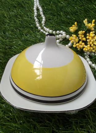 Масленка чайная довбыш фарфоровая блюдо с крышкой для масла ви...