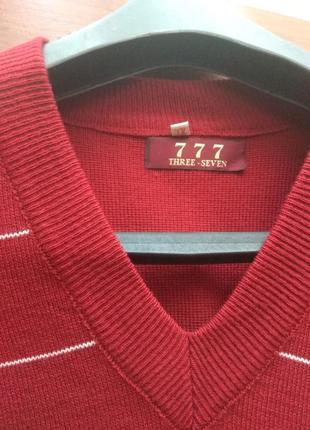 Бордовый шерстяной пуловер