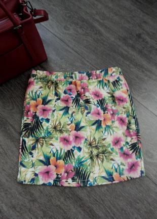 Летняя яркая красочная юбка мини на резинке
