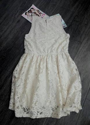 Бежевое молочное  кружевное гипюровое нежное платье