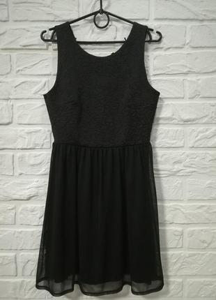 Черное милое платье юбка двухслойная фатин