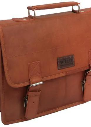 Кожаная сумка-портфель Always Wild NZT2SH Cognac