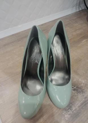 Туфли лодочки лаковые на каблуке   бирюзовые мятные   jessica ...