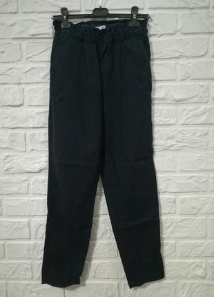 Брюки штаны  с высокой талией на резинке темно-синие