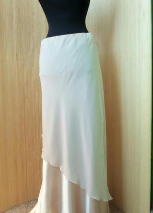 Нарядная золотистая атласная длинная юбка с поясом резинкой в пол