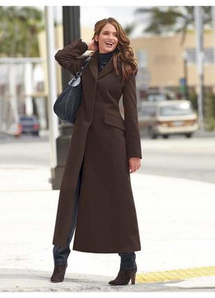 Пальто  трапеция  стильное шерстяное темно-коричневое демисезо...