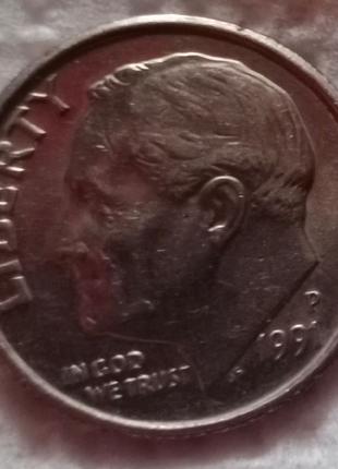 Монета США 10 центов, 1991г