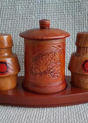 Деревянный Набор для специй на подставке, солонка, сахарница, пер