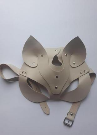 Кожаная маска коки/лисы из бежевой натуральной кожи