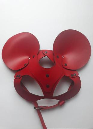 Кожаная маска микки маус из красной натуральной кожи