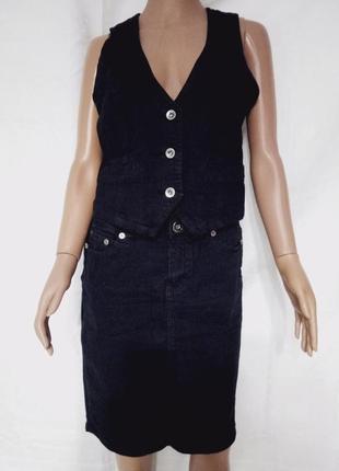 Костюм двойка: джинсовая юбка и жилет