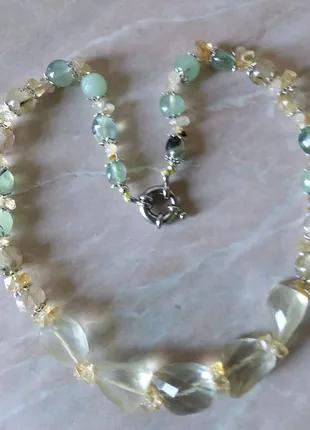 Ожерелье из цитрина,пренита и рутилового кварца