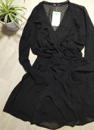 Платье с рюшами черное
