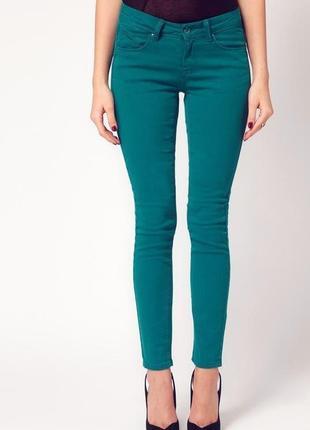 Модные зеленые узкачи скинни джинсы брюки тakko fashion герман...