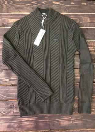 Мужской свитер (кофта) lacoste, цвет зеленый, разные размеры в...