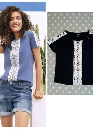 Модная блуза футболка с орнаментом, esmara германия, темно-синяя