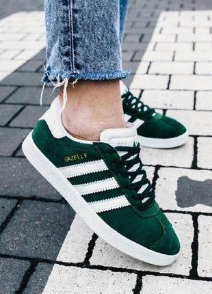 Кроссовки adidas gazelle green ( aдидас газель ) кеды зеленые ...