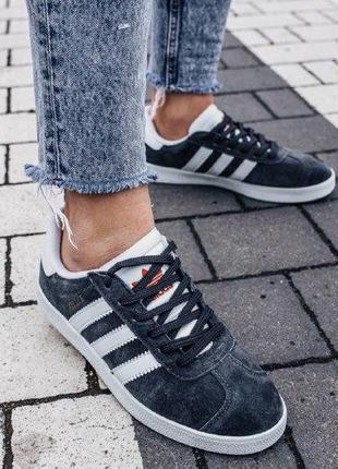Кроссовки adidas gazelle gray ( aдидас газель ) кеды серые с к...