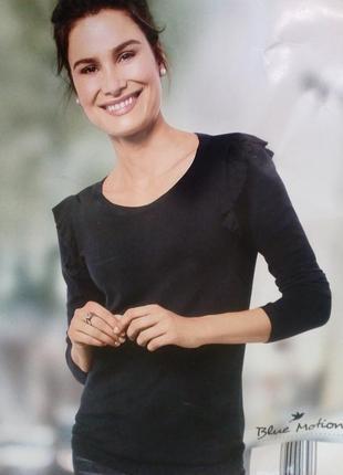 Красивый женский пуловер джемпер свитер, плечи с рюшами blue m...