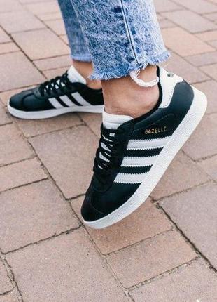 Кроссовки adidas gazelle  ( aдидас газель ) кеды  черные с бел...