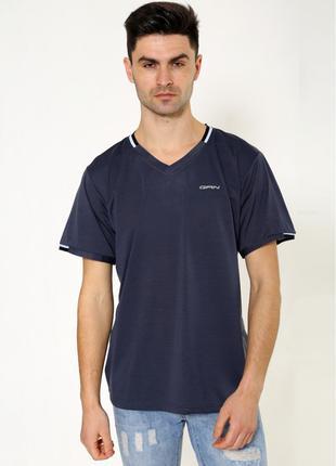 Однотонная мужская футболка  серого цвета
