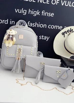 Набор Женский рюкзак +сумочка+ кошелек+ визитница эко- кожа