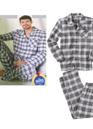 Мужская теплая фланелевая пижама, домашний костюм livergy герм...