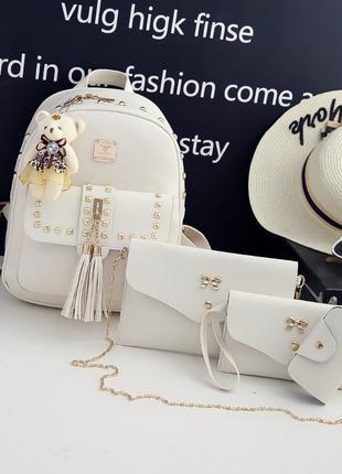 Женский рюкзак +сумочка+ кошелек +визитница эко-кожа