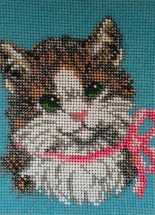 Картина вышита бисером кот котик котенок кошка ручная работа