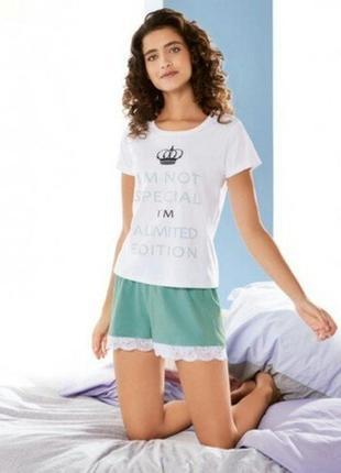 Летний комплект, женская пижама домашний костюм с кружевом esm...