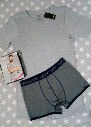 Комплект мужское белье базовая футболка и трусы боксеры боксер...