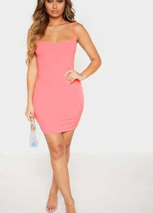 🎈нас 10 тысяч🎈happy sale🎁  розовое яркое мини платье по телу н...