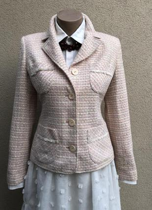 Винтаж,жакет,пиджак)фактурный,розовый,пудровый,в стиле шанель,...
