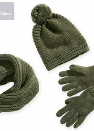 Вязаный теплый комплект, шапка с помпоном шарф снуд перчатки, ...