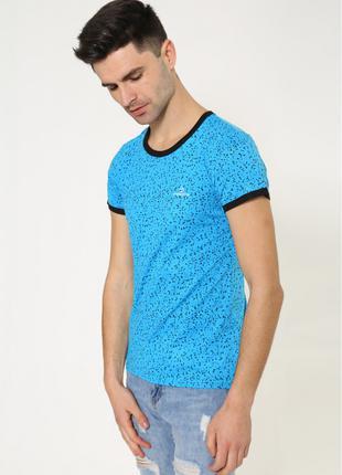 Мужская повседневная футболка бирюзового цвета