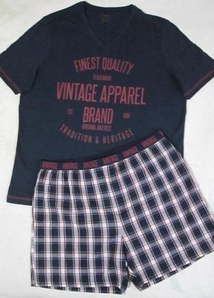 Хлопковая пижама домашний костюм, футболка шорты, livergy герм...