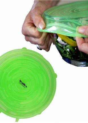 Силиконовые крышки, 6шт. цвет зеленый.