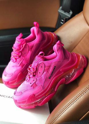 Женские кожаные кроссовки розового цвета balenciaga баленсиага...