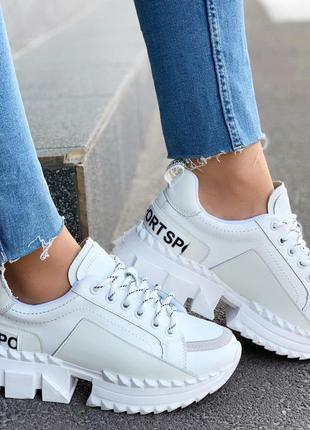 Стильные белые кроссовки на тракторной подошве,женские белые к...