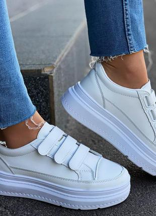 Белые кеды на липучках, стильные белые кроссовки на липучках, ...