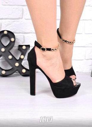 Черные замшевые босоножки на высоком каблуке, стиль лабутен, к...