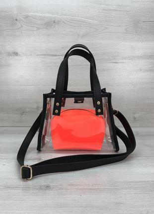 Набор 2в1 силиконовая прозрачная сумка и косметичка-клатч оран...