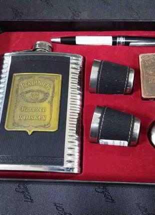 Набор подарочный (фляга 8oz, 2 стопки, зажигалка, лейка, ручка)