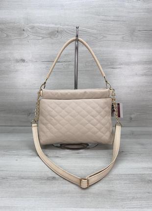 Женская сумочка-клатч бежевая