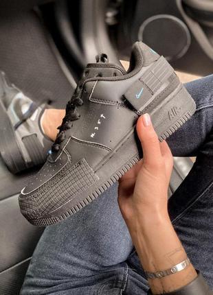 Женские кроссовки nike air force 1 black 😍