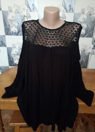 Блуза туника с ажуром с открытыми плечами