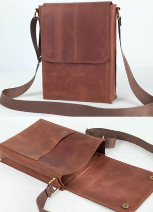Мужская сумка мессенджер из натуральной винтажной кожи коричне...