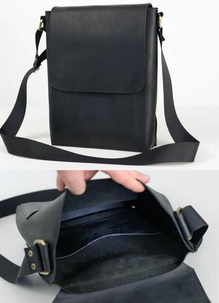 Мужская сумка мессенджер из натуральной винтажной кожи черная