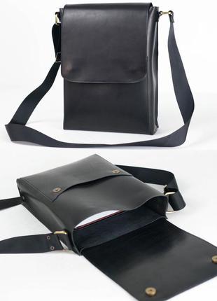 Мужская сумка мессенджер из натуральной кожи итальянский краст...
