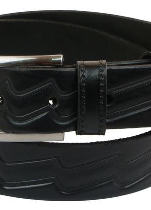 Мужской кожаный ремень под брюки Skipper 1020-35 черный ДхШ: 126х